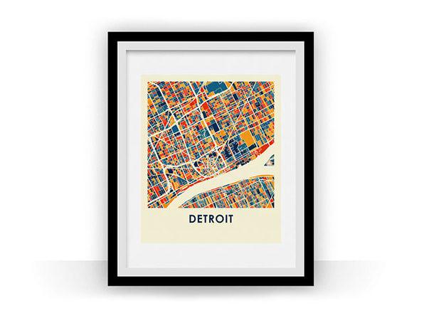 Detroit Prussian Color Map Prints