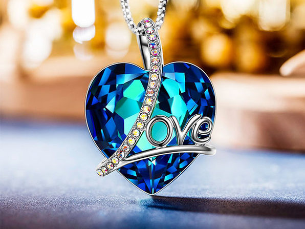 """Love"" Swarovski Crystals Blue Necklace with Aurora Borealis Stones"