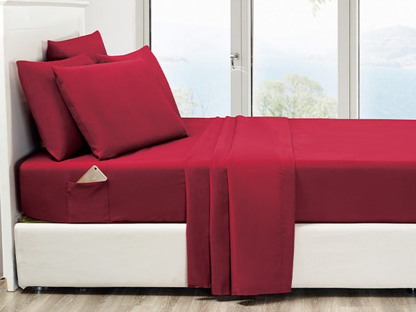 6-Piece Burgundy Ultra Soft Bed Sheet Set with Side Pockets (King)