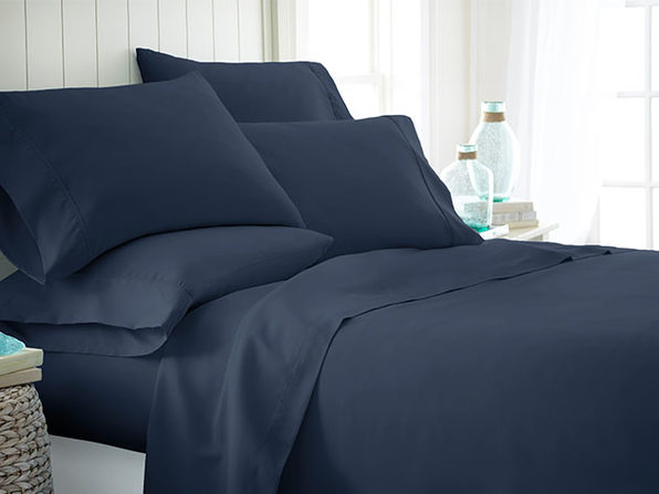 Home Collection Premium Ultra Soft 6-Piece Bed Sheet Set (Navy/King)