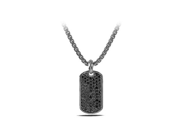 Stainless Steel Dog Tag Pendant Necklace (Black/Silver)
