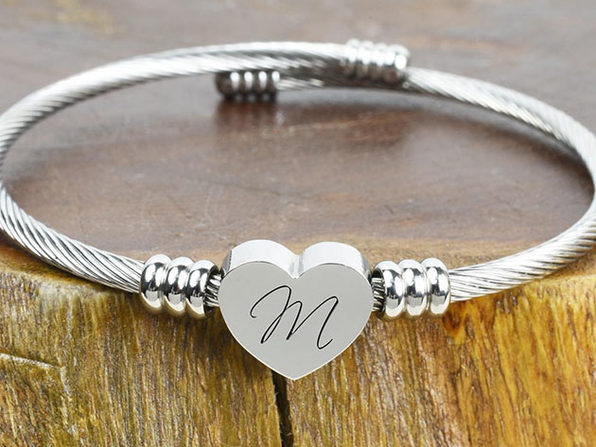"Heart Cable ""M"" Initial Bracelet"