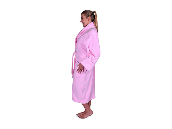 ef6fe17a19 Turkish Terry Cotton Shawl Collar Unisex Robe (Light Pink). Bundle up    Keep Cozy with This Luxuriously Soft Turkish Cotton Robe