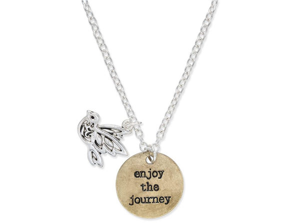"""Inspired Life Two-Tone """"Enjoy the Journey"""" Disc and Bird Charm Pendant Necklace - Product Image"""