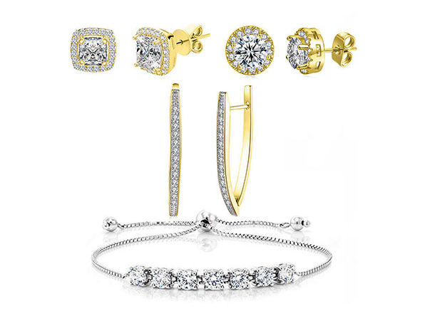 Swarovski Earrings & Princess Tennis Bracelet Jewelry Set (Gold)