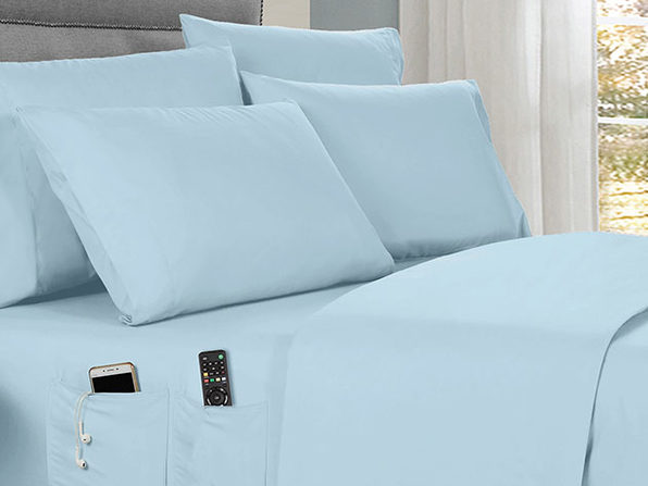 Kathy Ireland 6-piece Smart Sheet Sets w/ Pocket - Aqua - Twin - Product Image