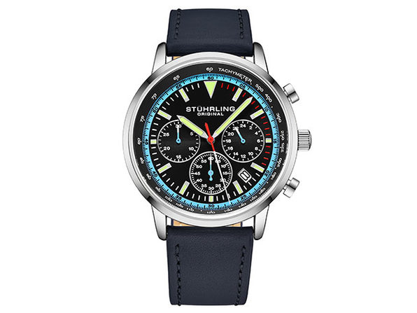 Quartz 44mm Chronograph Men's Watch (Black/Blue)