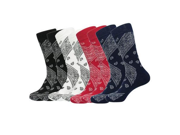 Daily Basic New Mens Comfortable One Size Crew Cotton Paisley Bandana Socks - 4 Pairs - Grey