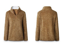 Half Zip Furry Pullover- Brown Large - Product Image
