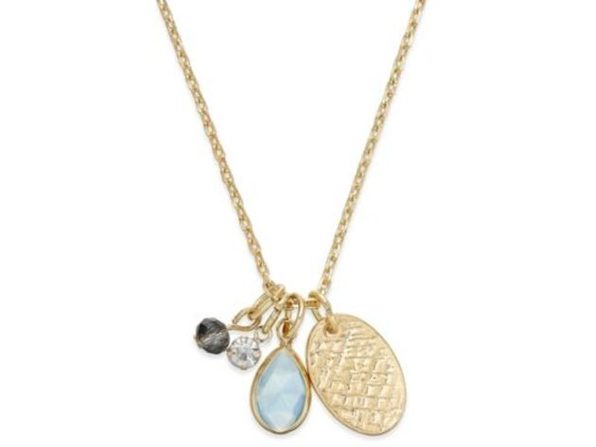 Inspired Life Gold-Tone Multi-Charm Stone Pendant Necklace