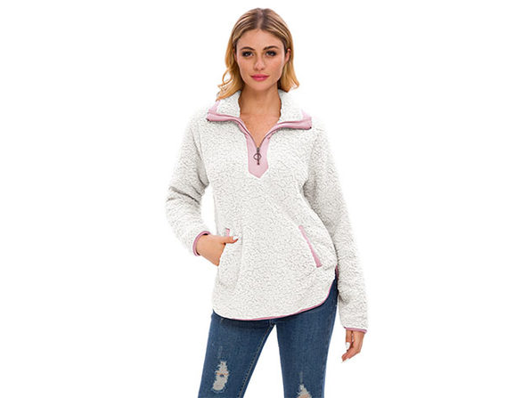 White Loose Sherpa Pullover Stand Collar with Pockets (XL)