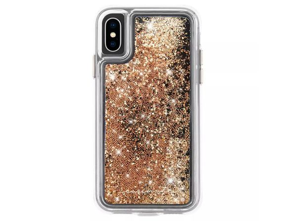 Case-Mate Apple iPhone X/Xs Waterfall Phone Case with Refined Metallic Button, Gold
