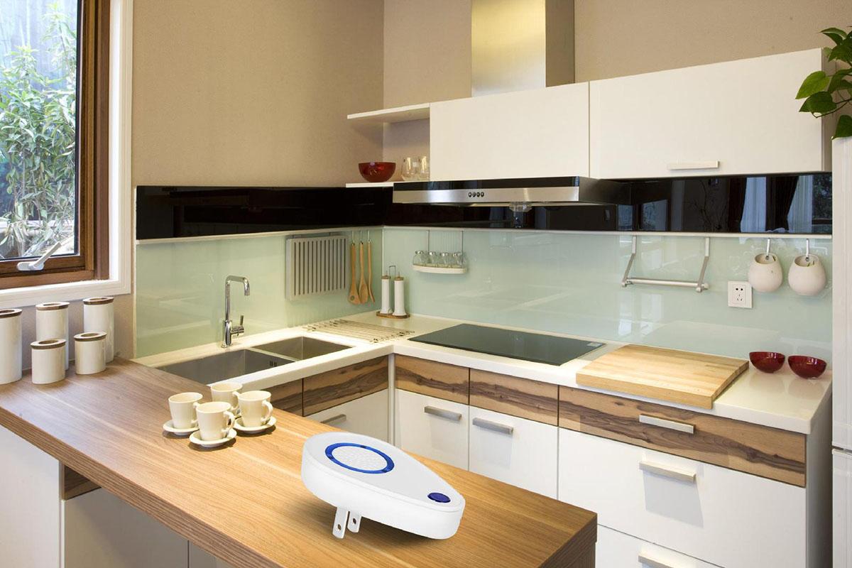 A kitchen, with a pest repellent plug-in on the counter