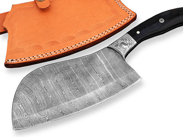 Damascus Cleaver Knife with Buffalo Horn & Mosaic Pin Handle