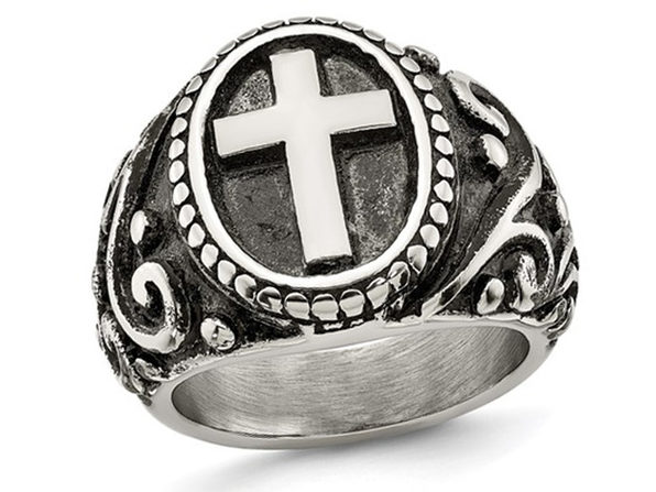 Mens Antiqued Stainless Steel Ring with Cross - 10