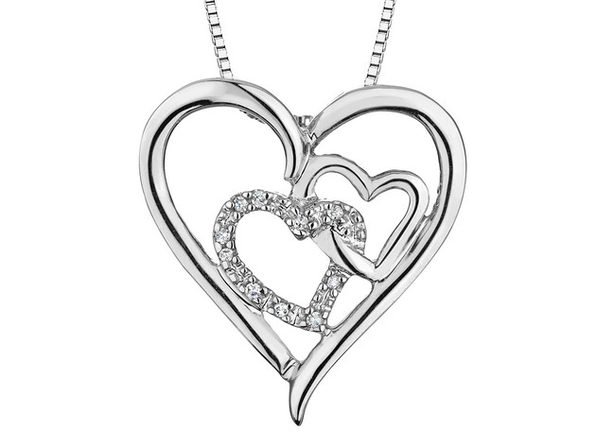 Triple Heart Pendant Necklace with Diamond Accents in Sterling Silver with Chain - Product Image