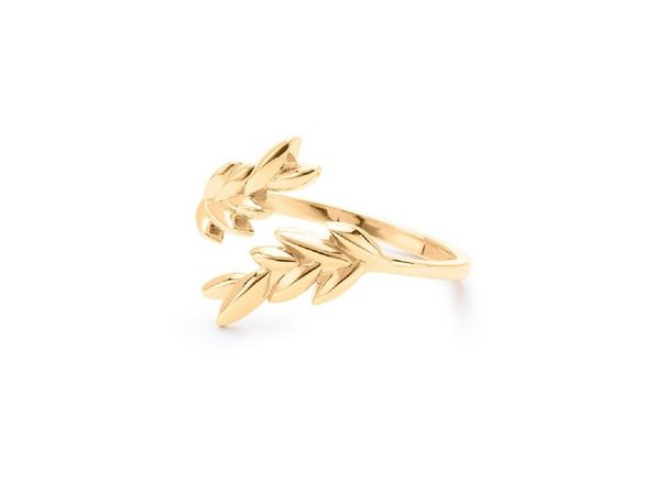 Homvare Women's 925 Sterling Silver Olive Leaf Cuff Ring - Gold
