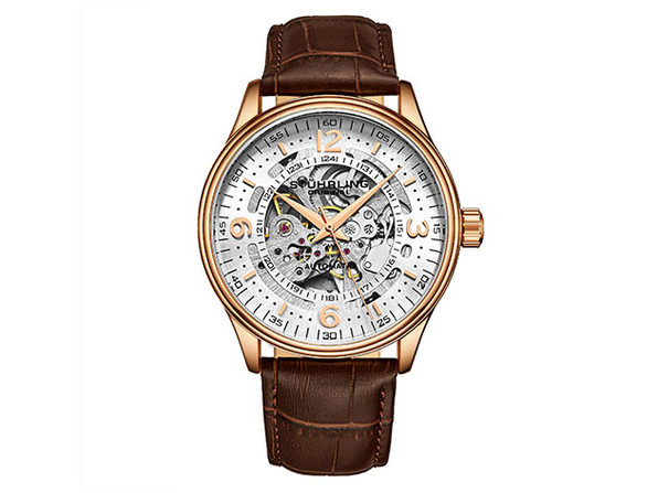 Denmark Automatic 42mm Skeleton Men's Watch (Brown/Rose Gold)
