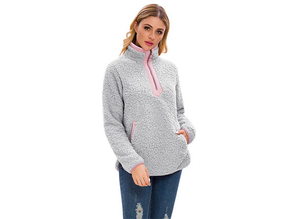 Gray Loose Sherpa Pullover Stand Collar with Pockets (XL)