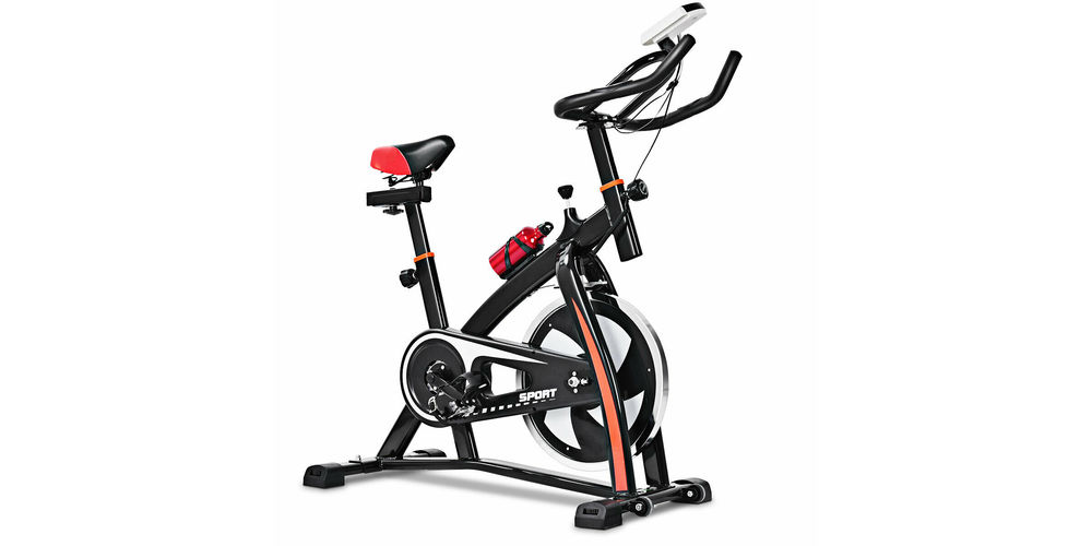 A red and black indoor exercise bike