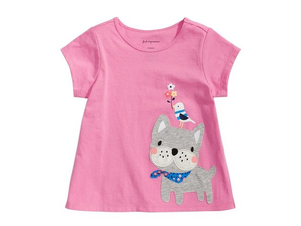 First Impressions Baby Girls Frenchie-Print T-Shirt Pink Size 12 Months