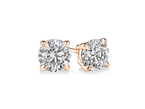 Classic 4-Prong Stud Earrings with Swarovski Crystals (Rose Gold)