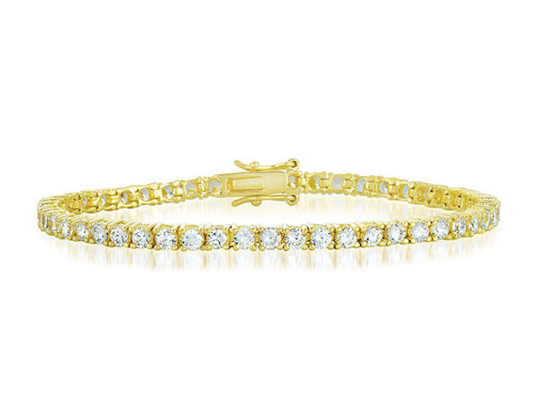 10 Carat Vivid Flawless 4mm Tennis Bracelet in 14k Gold Plated Finish