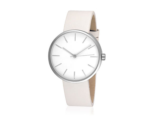 Sleek Minimalist Watch (White/Silver)