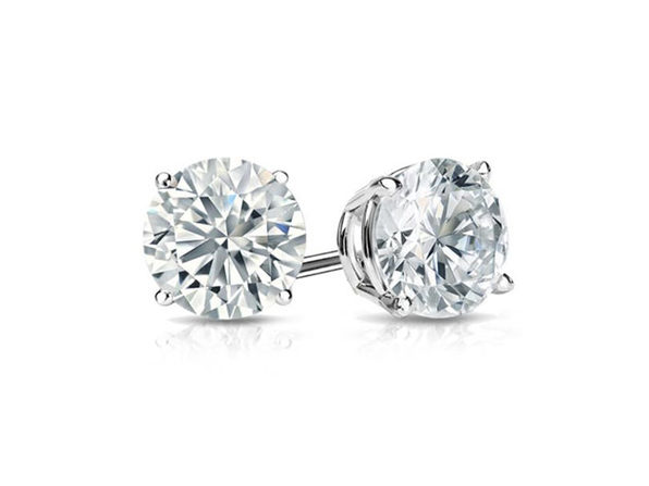 "0.28"" Birthstone Stud Earrings Made with Swarovski Crystals (White Topaz)"