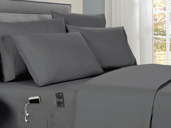 Kathy Ireland 6-piece Smart Sheet Sets w/ Pocket - Grey - Twin - Product Image
