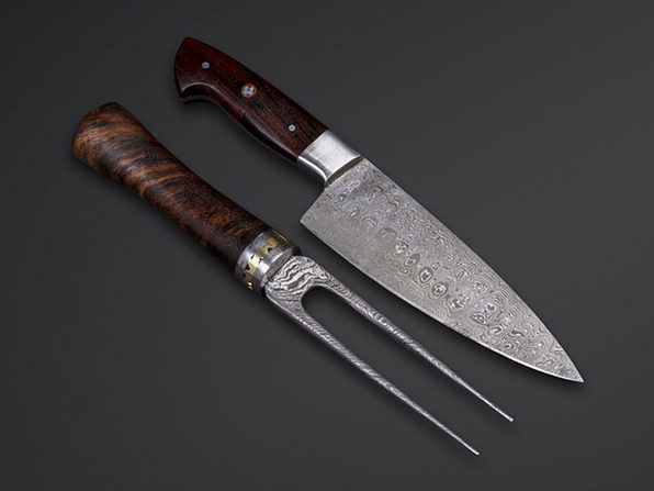 58HRC Damascus Steel Chef + Fork Knife Set