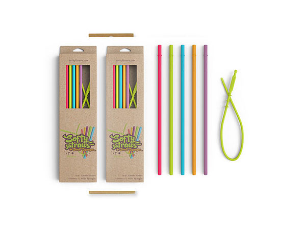 Softy Straws Assorted Colors Long Silicone Reusable Straws: 10-Pack
