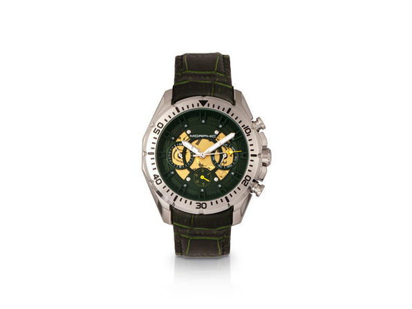 Morphic M66 Series Skeleton Dial Leather-Band Watch