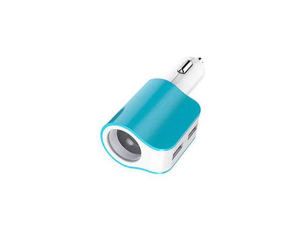 Twin Ports 3-In-1 USB Car Charger - Blue/White - Product Image