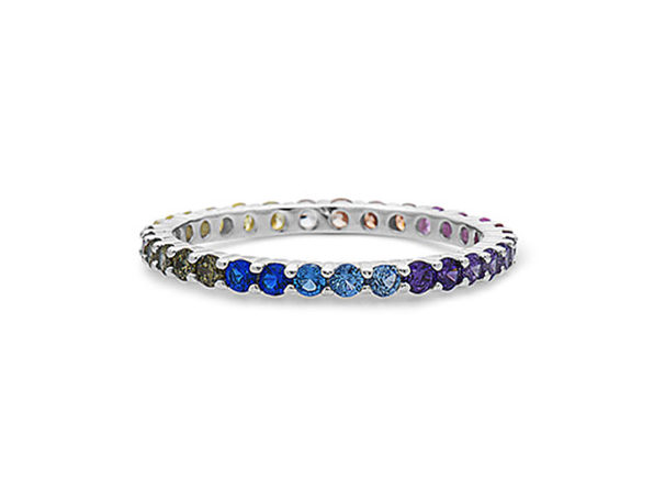STERLING SILVER MULTICOLORED GEMSTONES ETERNITY BAND RING - Size 10 - Product Image