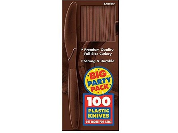 Party Favors - Big Party Pack - Brown - Plastic Knives - 100ct