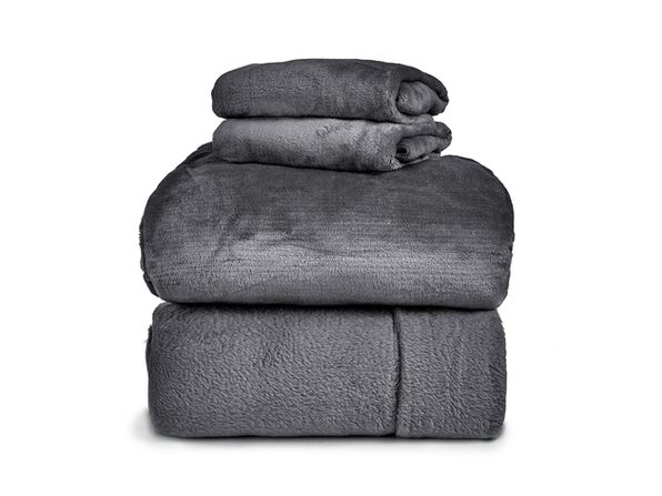 SPYDER Insulated Warm Fleece Flannel Plush Sheet Set  Pillow Case  Flat & Fitted Sheet - Full White