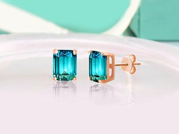 Swarovski Emerald Cut Stud Earrings Aruba Aqua - Product Image