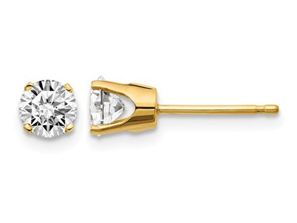 4/5 Carat (ctw I1, J-K) Diamond Solitaire Stud Earrings in 14K Yellow Gold
