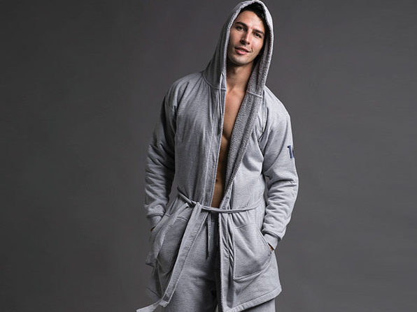 DudeRobe: Luxury Men's Hooded Bathrobe (Gray, L/XL)