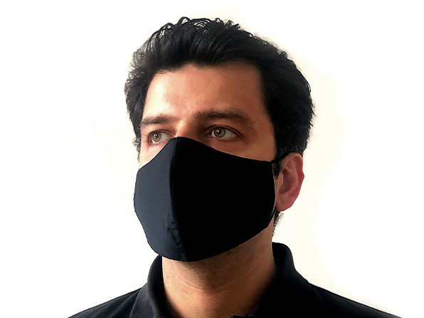 3-Layer Woven Cotton Face Mask - Adult, Black Color (50-pack)