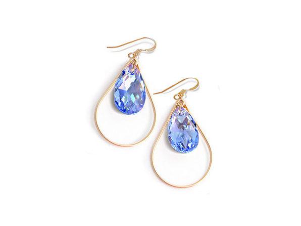 Sonia Hou SELFIE Earrings Ft. Swarovski Crystals (Sake Blue)