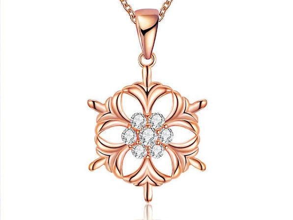 White Swarovski Elements Circular Snowflake (Rose Gold)