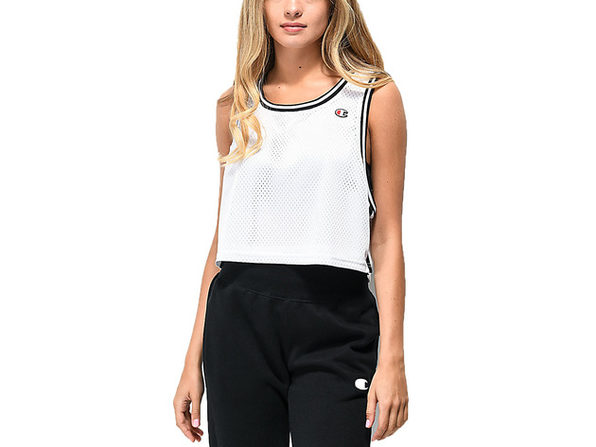 Champion Women's Reversible Mesh Cropped Tank Top White Size Extra Small