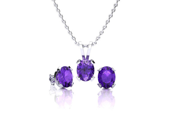 Oval Amethyst Necklace & Earring Set In Sterling Silver