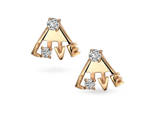 Homvare Women's 925 Sterling Silver LOVE Ear Jacket Earrings - Gold