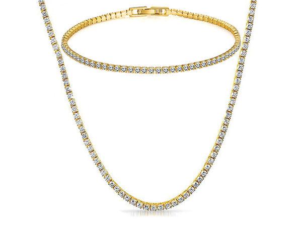 Tennis Necklace & Bracelet with Swarovski Crystals