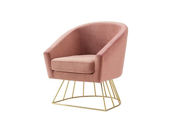Adalene Velvet Accent Chair (Blush/Gold)