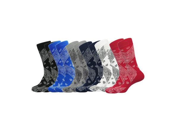 Daydana Latest Trend Mens One Size Crew Cotton Paisley Bandana Socks - 6 Pairs - Black