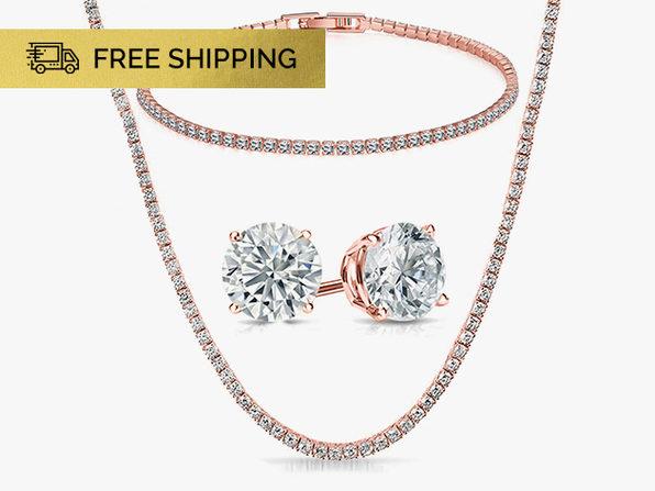 Tennis Jewelry with Swarovski Crystals 3-Piece Set (Rose Gold)